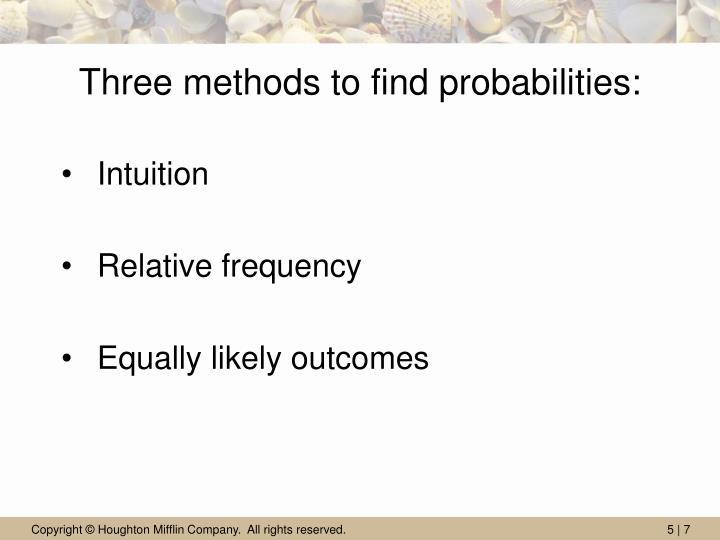 Three methods to find probabilities:
