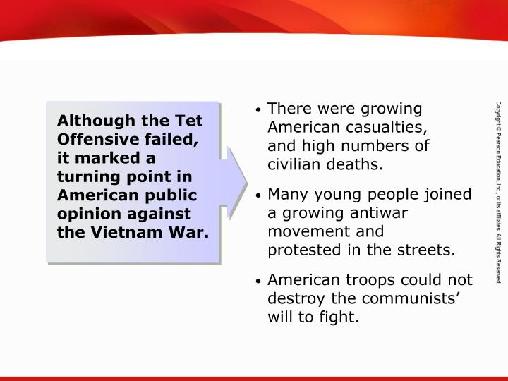 There were growing American casualties,