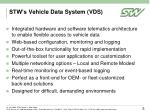 stw s vehicle data system vds