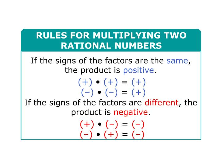 RULES FOR MULTIPLYING TWO RATIONAL NUMBERS