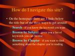 how do i navigate this site