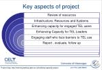 key aspects of project