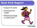 back pack support