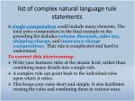 list of complex natural language rule statements