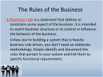 the rules of the business