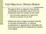unit objectives motion models