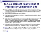 13 1 7 2 contact restrictions at practice or competition site