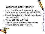 sickness and absence