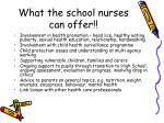 what the school nurses can offer