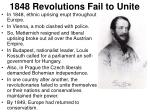 1848 revolutions fail to unite