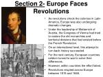 section 2 europe faces revolutions