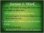section 1 work