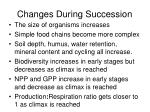 changes during succession