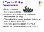 ii tips for writing presentations