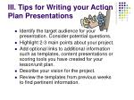 iii tips for writing your action plan presentations