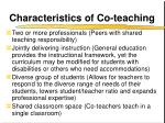 characteristics of co teaching