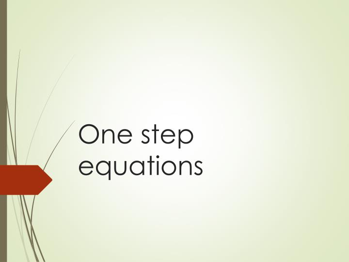 one step equations n.