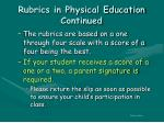 rubrics in physical education continued