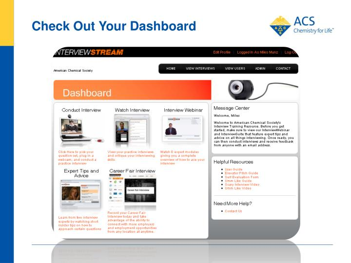 Check Out Your Dashboard