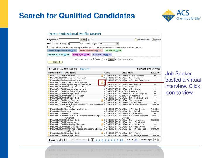 Search for Qualified Candidates