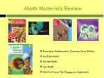 math materials review