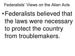 federalists views on the alien acts