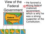view of the federal government