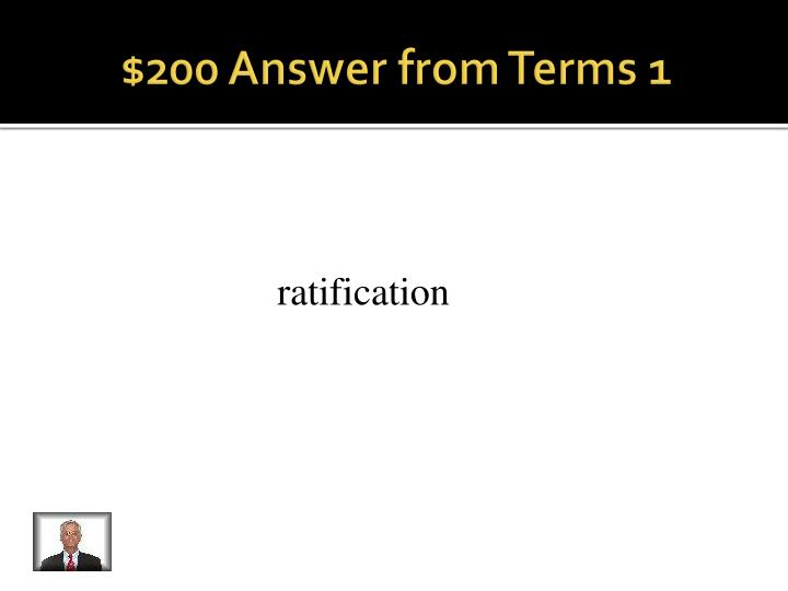 $200 Answer from Terms 1