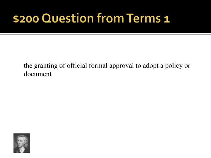 $200 Question from Terms 1