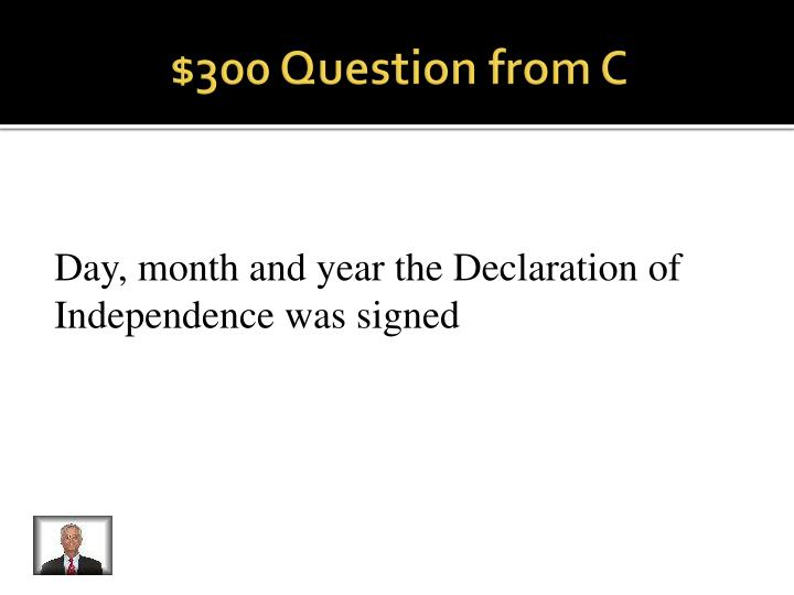 $300 Question from C