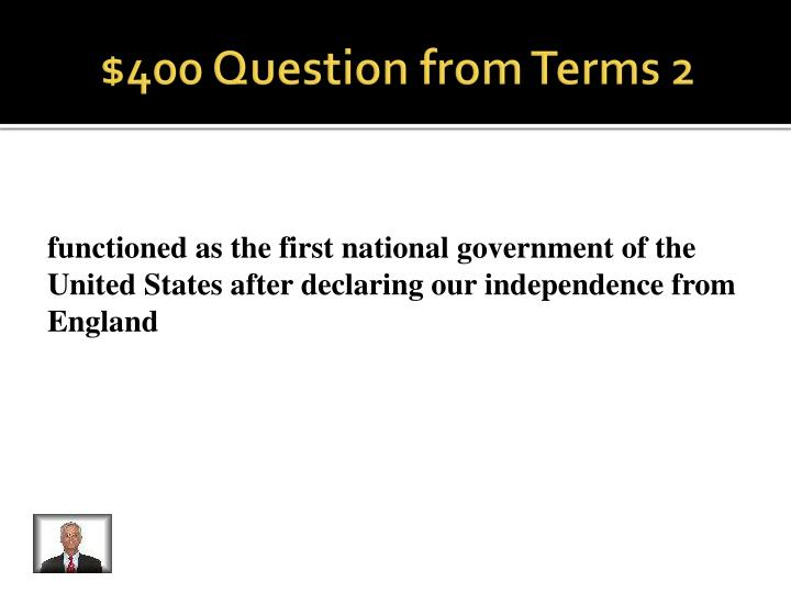 $400 Question from Terms 2
