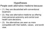 hypotheses people seek alternative medicine because