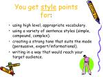 you get style points for