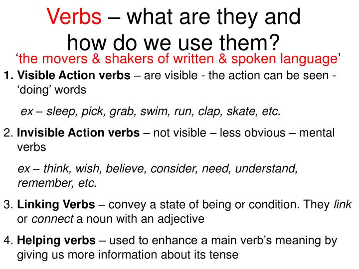 verbs what are they and how do we use them n.