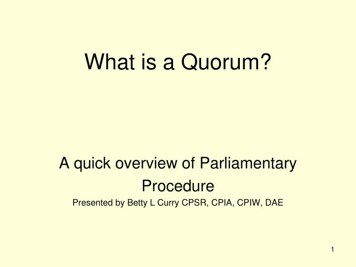 what is a quorum n.