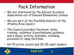 pack information