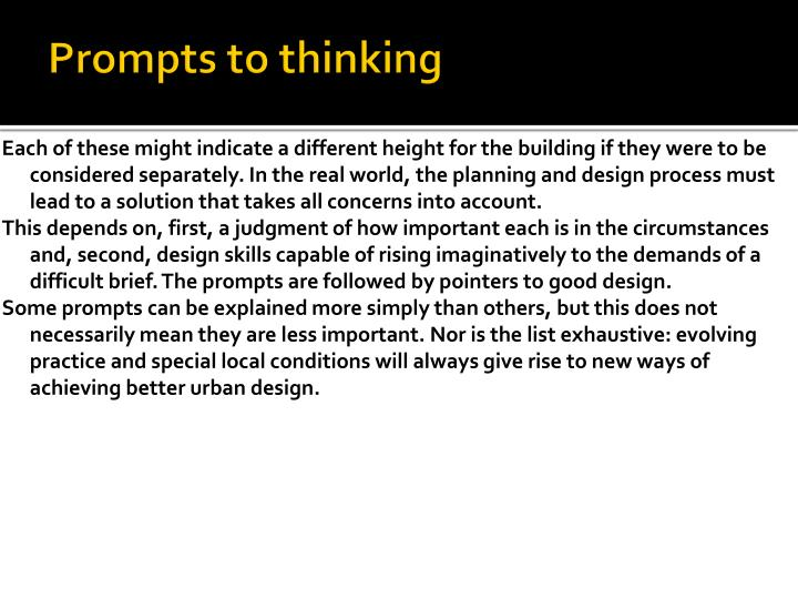 Prompts to thinking