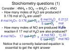 stoichiometry questions 1