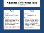 advanced performance task groups of 3
