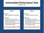 intermediate performance task groups of 3