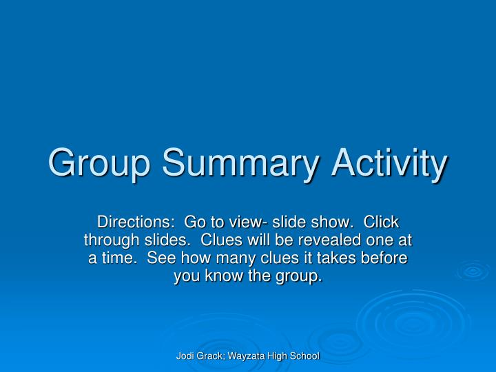 group summary activity n.
