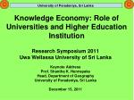 knowledge economy role of universities and higher education institution