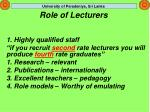 role of lecturers