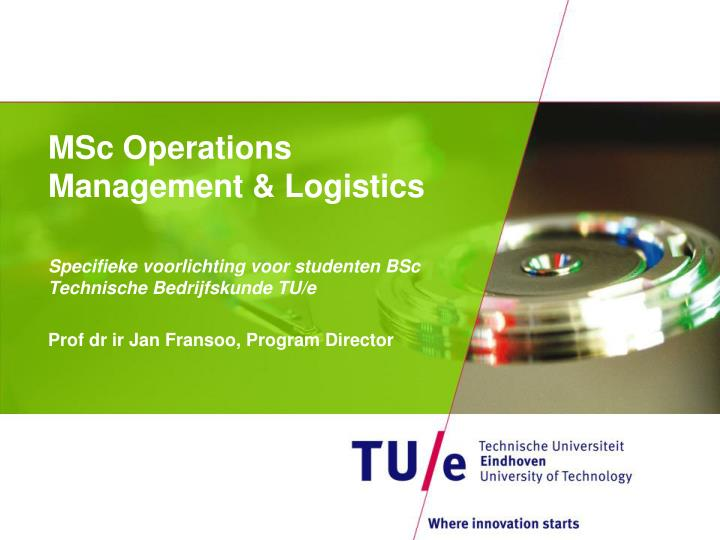 msc operations management logistics n.