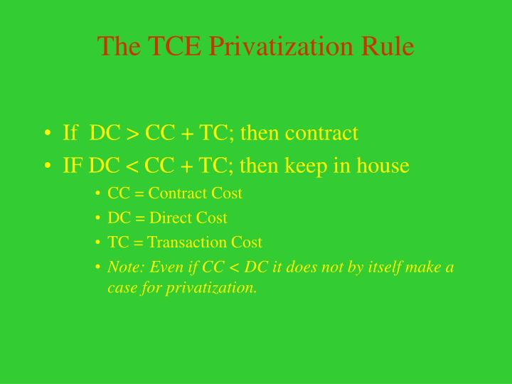 The TCE Privatization Rule