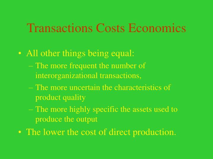 Transactions Costs Economics