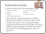 grade level samples