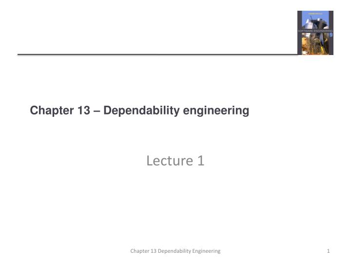 chapter 13 dependability engineering n.