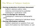 the when of subject analysis