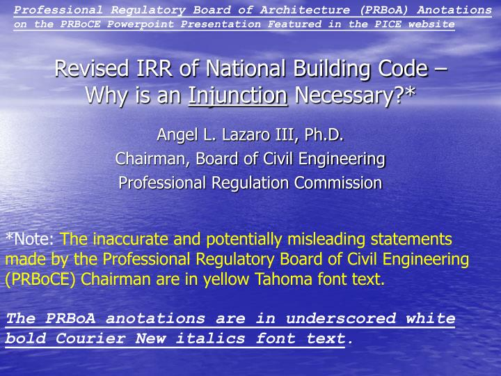 revised irr of national building code why is an injunction necessary n.